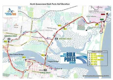 The BMA Mackay Marina Run North Queensland Bulk Ports half marathon course