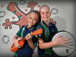 FUTURE STARS: Golden Beach State School students Piper Harboe and Milla Oliver prepare for the Breakthru School Music and Dance Competition.
