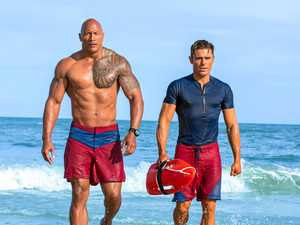 Dwayne Johnson and Zac Efron in a scene from the movie Baywatch.