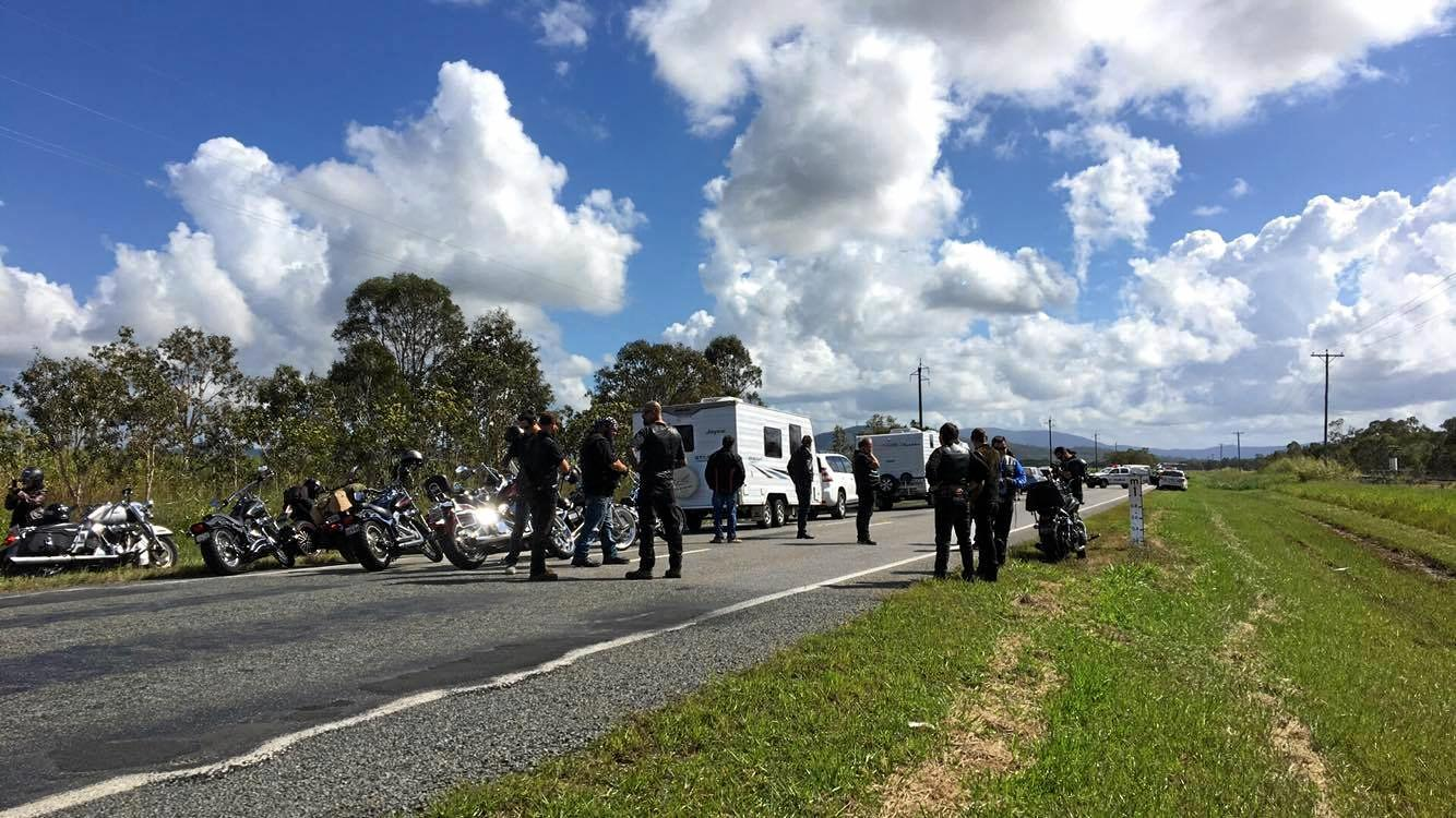 Traffic on the Bruce Hwy was stopped to allow the helicopter to land.