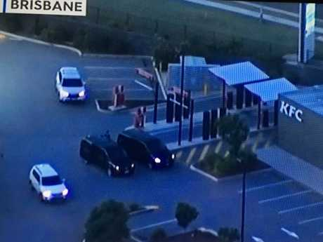 Part of the convoy reportedly carrying Schapelle Corby stopped at a roadside KFC outlet. Picture: Channel Nine