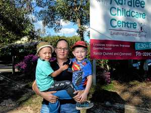 Shana Skinner from Karalee Childcare Centre with Slater Hanson (left) and Liam Edbrooke