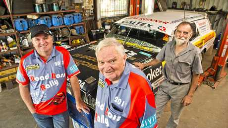 ROAD RELATIVES: Celebrating 30 years of rallies are (from left ) Jamie Lawson and his father Allan Lawson with 30-year rally veteran John Leadbetter.