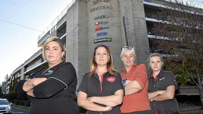 TOO MUCH: Grand Central employees unhappy with the cost of staff parking are (from left) Bec Irvin, Melissa Griffin, Sallyanne Reis and Angela Wockner.