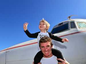 Daniel Tinney with his son Cohen Tinney at Queensland Air Museum in Caloundra last year for the Open Cockpit Weekend.