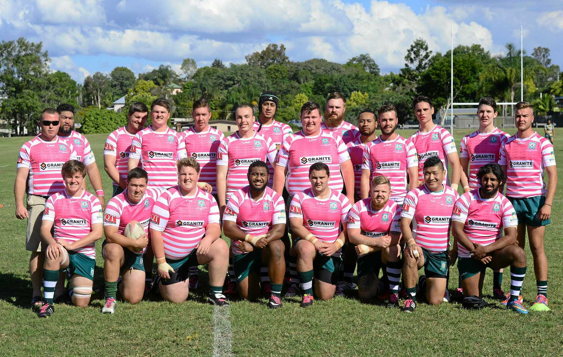 The Ipswich Rangers Rugby Union side in pink jerseys for Ladies Day at Woodend Park.