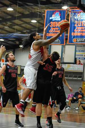Jah Soloai scores two of his 36 points for the Coffs Harbour Suns against the Norths Bears. basketball 27 May 2017 Sportz Central Photo: Brad Greenshields/Coffs Coast Advocate