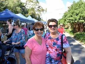 Judy White and Dianne Kirby enjoy the Feast on East markets at East Shores Precinct.