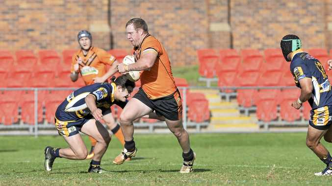 ON THE CHARGE: Jacob Whittaker takes a run for Souths against Highfields at Clive Berghofer Stadium.