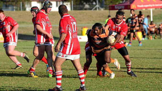 James Wragge, pictured playing for Cherbourg, was injured in a rugby league at Bundaberg.