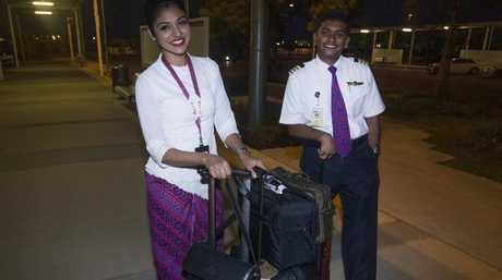 The flight crew from Schapelle Corby's plane. Hostess Wahidah and pilot So Kisshor. Picture: Nigel HallettSource:News Corp Australia