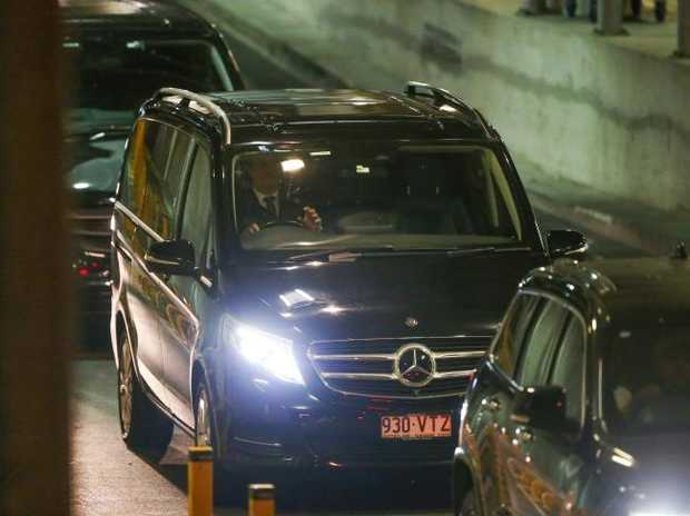Schapelle Corby's convoy leaves Brisbane International Airport.