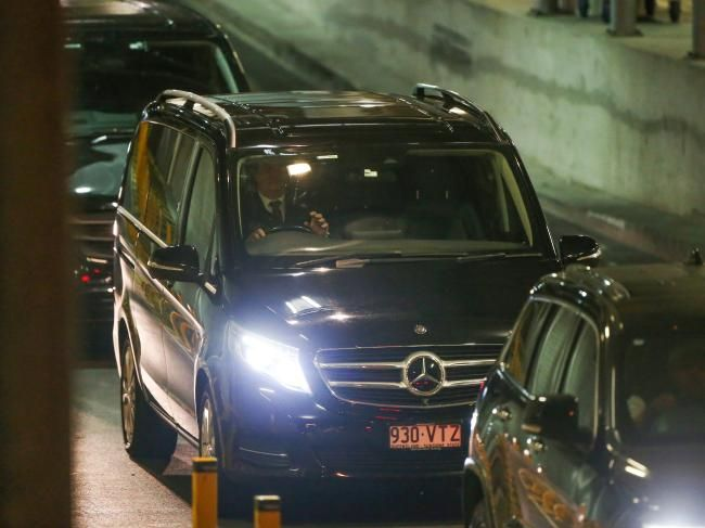 Schapelle Corby's convoy leaves Brisbane International Airport.