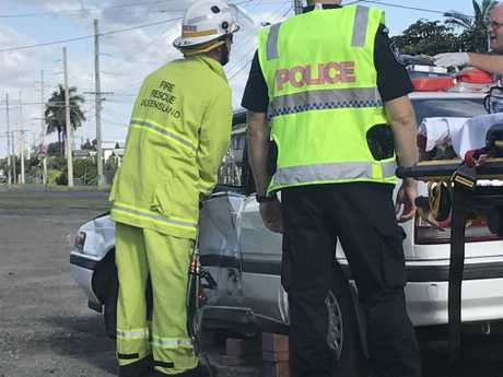TRAPPED: An elderly lady is trapped in a vehicle on the corner of Main St and Glenmore Rd. , TRAPPED: An elderly lady is trapped in a vehicle on the corner of Main St and Glenmore Rd.