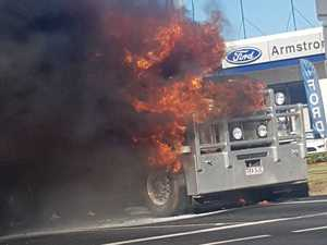 Truck bursts into flames on busy Toowoomba road