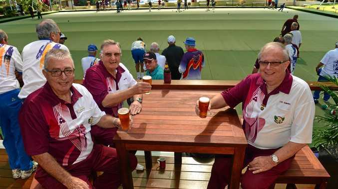 CELEBRATING: Trevor Flynn, Brian West and Lee Shimbel celebrate the new renovations at Buderim Bowls Club.