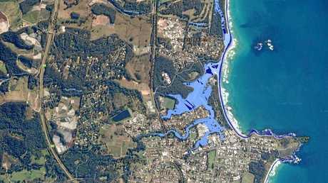 Rising sea level prediction for Woolgoolga.