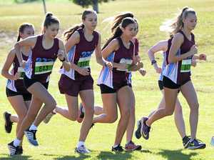 St Mary's College runners head off during the Catholic Schoolgirls cross country championships at Limestone Park on Friday.
