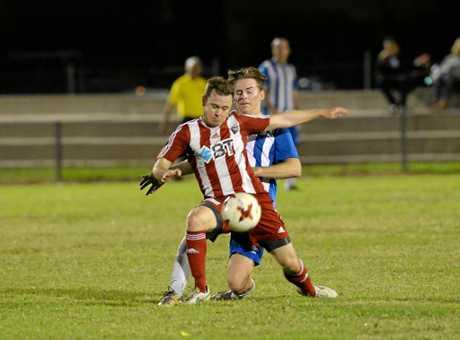 Soccer: Southside's Nathan Mutch v Bluebirds' Nicolas Kirkpatrick .