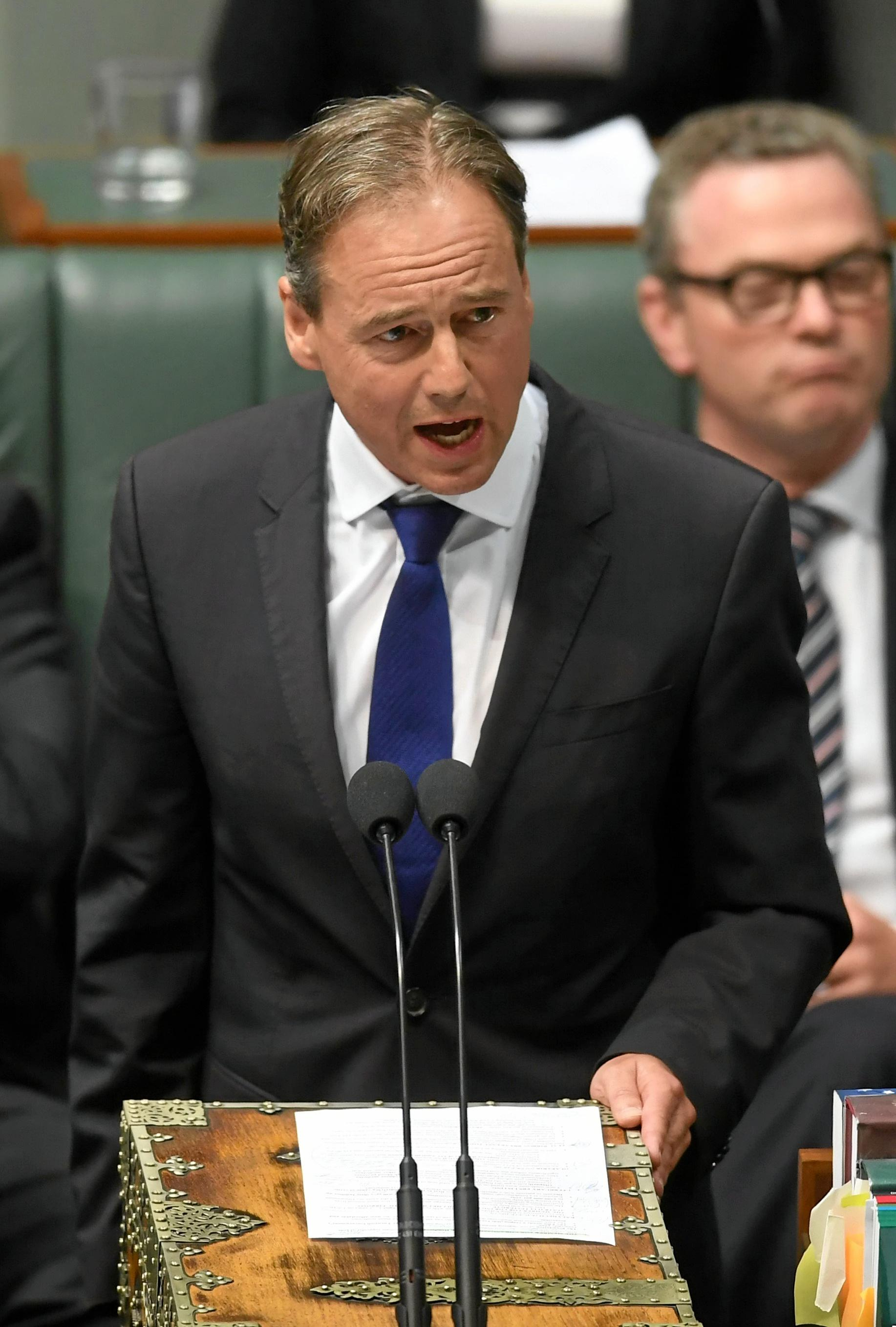 Australia's Health Minister Greg Hunt speaks during House of Representatives Question Time at Parliament House in Canberra, Monday, Feb. 13, 2017. (AAP Image/Lukas Coch) NO ARCHIVING