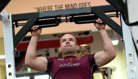 Queensland State of Origin veteran Nate Myles pushes himself in the gym.