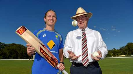 NICE DAY FOR CRICKET: Australian women's captain Meg Lanning is greeted by Sunshine Coast Mayor Mark Jamieson as the team arrives for a week-long camp.