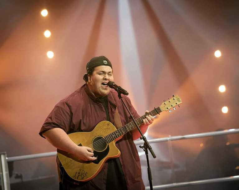 GOING PLACES: Judah Kelly performs during his battle round on The Voice.