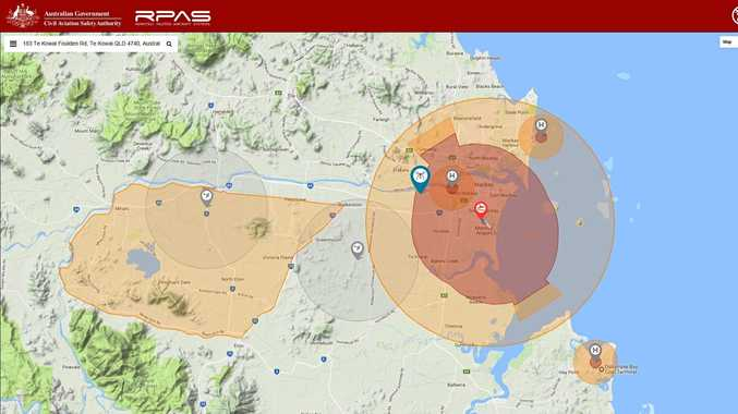 The no-fly and fly-with-caution zones around Mackay