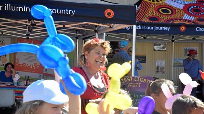 SHOW TIME FUN: Di Paulger has fun with balloons at Chinchilla Show.
