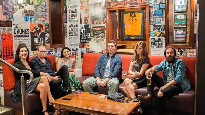 ON STAGE: The cast of play The Friendzone (from left) Kristen Nuss (Sally), Brendan Hillier (Sam), Doraa Beavis (Zoe), Isaac Burton (Tom), Kristy Quade (Bella) and David Searston (William).
