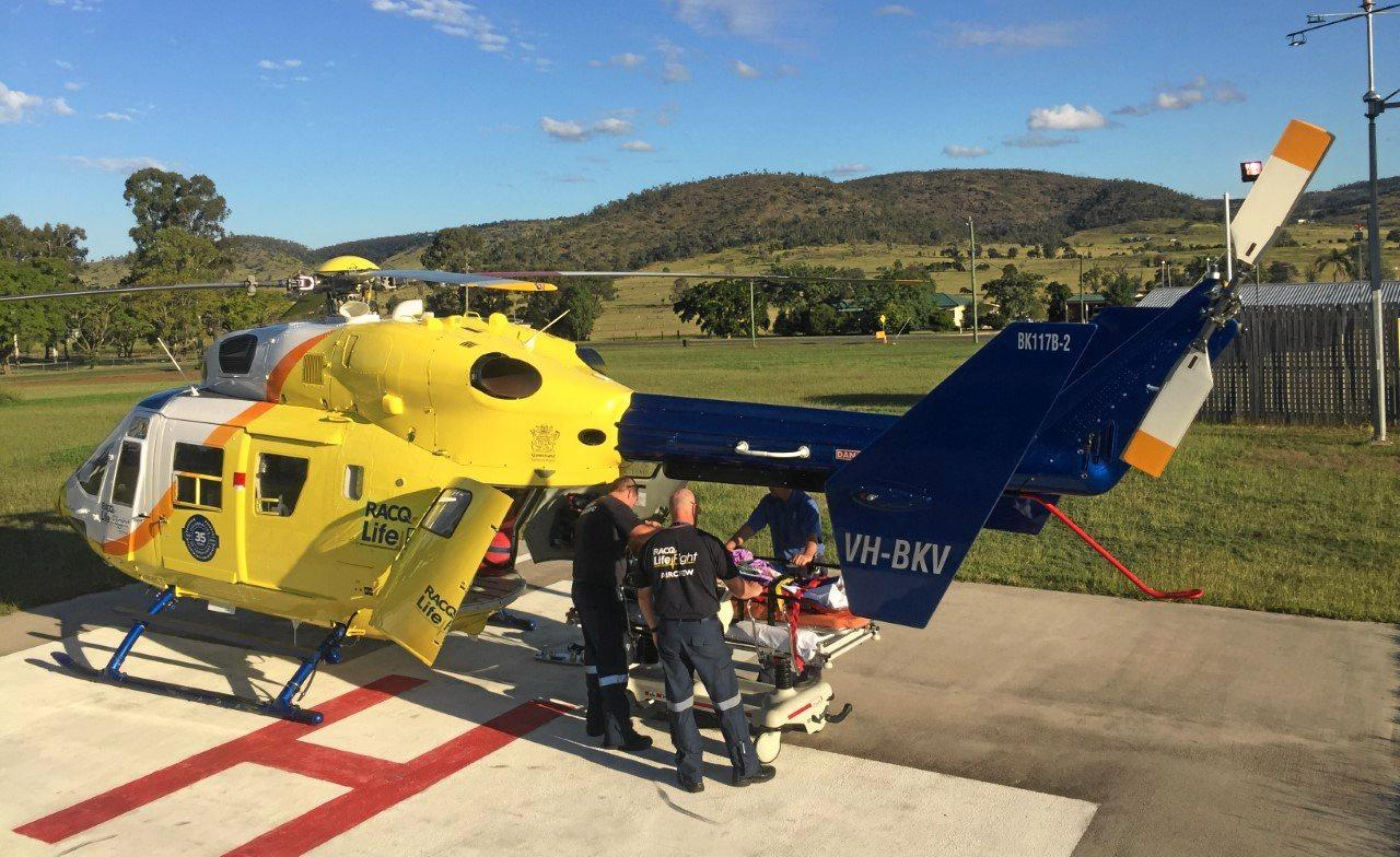 BUSY WEEKED: The RACQ LifeFlight Rescue helicopter airlifts a man to Bundaberg Hospital after an accident on his property at Gayndah.