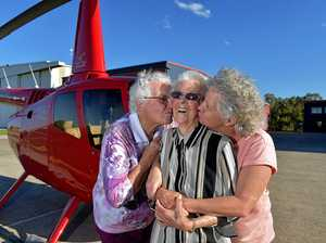 LIFT OFF: Elsie Brown, from Pomona, is turning 100 years old and to celebrate, Helitec donated a 30-minute helicopter flight. Daughter Kathleen Jeffery and grandaughter Karen Harris joined Mrs Brown for the flight.