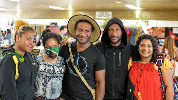 (L-R) Diana Kaiulo, Sonya Tikili, Aron Waka, Edward Roberts and Elis Gabriel from Papua New Guinea at the Lockyer Multicultural Festival.