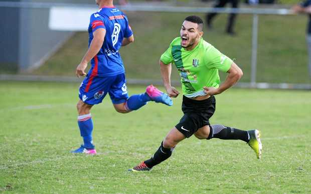 Jason Pillay celebrates scoring a goal for the Ipswich Knights. The Knights will be part of the new Football Queensland Premier League next season.