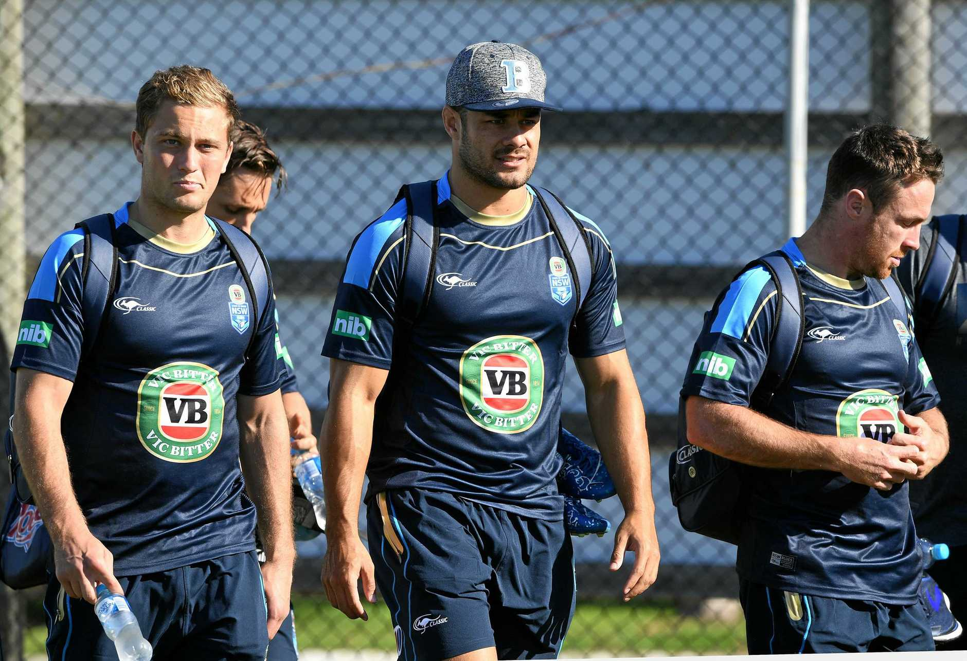 Jarryd Hayne (centre) arrives for a NSW State of Origin training session with Matt Moylan (left) and James Maloney.