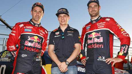 F1 driver Max Verstappen (centre) with Supercars drivers Shane van Gisbergen (left) and Jamie Whincup.