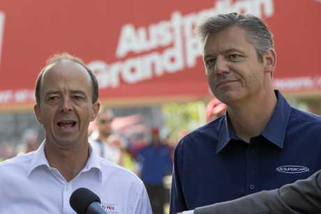 Australian Grand Prix Corporation boss Andrew Westacott (left) and Supercars CEO James Warburton.