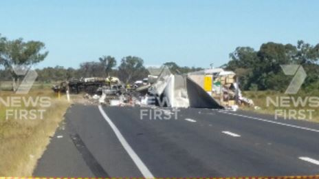 The scene of the crash about 30km south of Boggabilla in which three people died this morning.