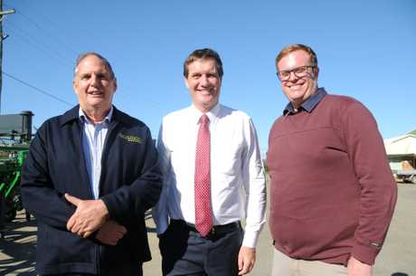 MADE HERE: Lester Ferry and Aaron Bellette from Global Rotomoulding have secured more than $70,000 in funding from Dr Anthony Lynham (centre) and the State Government with the Made in Queensland program.