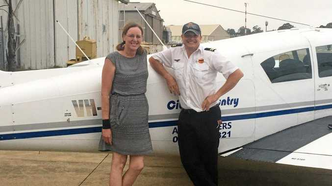 Tracey Brunner with Angel Flight pilot Paul Patman during one of her trips to Sydney.