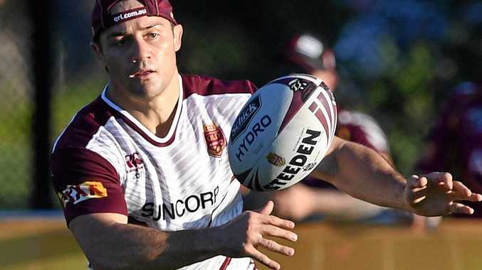 Cooper Cronk during a Queensland State of Origin team training session at Sanctuary Cove on the Gold Coast.