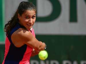 Jaimee Fourlis in action against Caroline Wozniacki at the French Open.