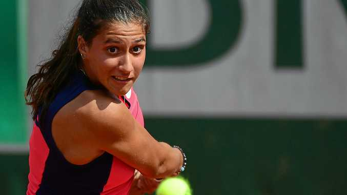 Jaimee Fourlis in action against Caroline Wozniacki at the French Open.