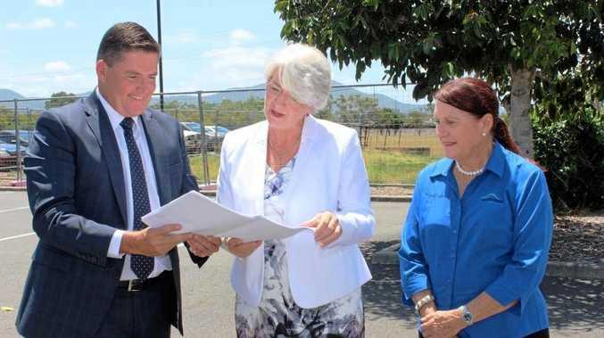 ALDI Property director Brendan Geary, Mayor Margaret Strelow and Cr Ellen Smith announce plans for new Rockhampton ALDI stores back in February.