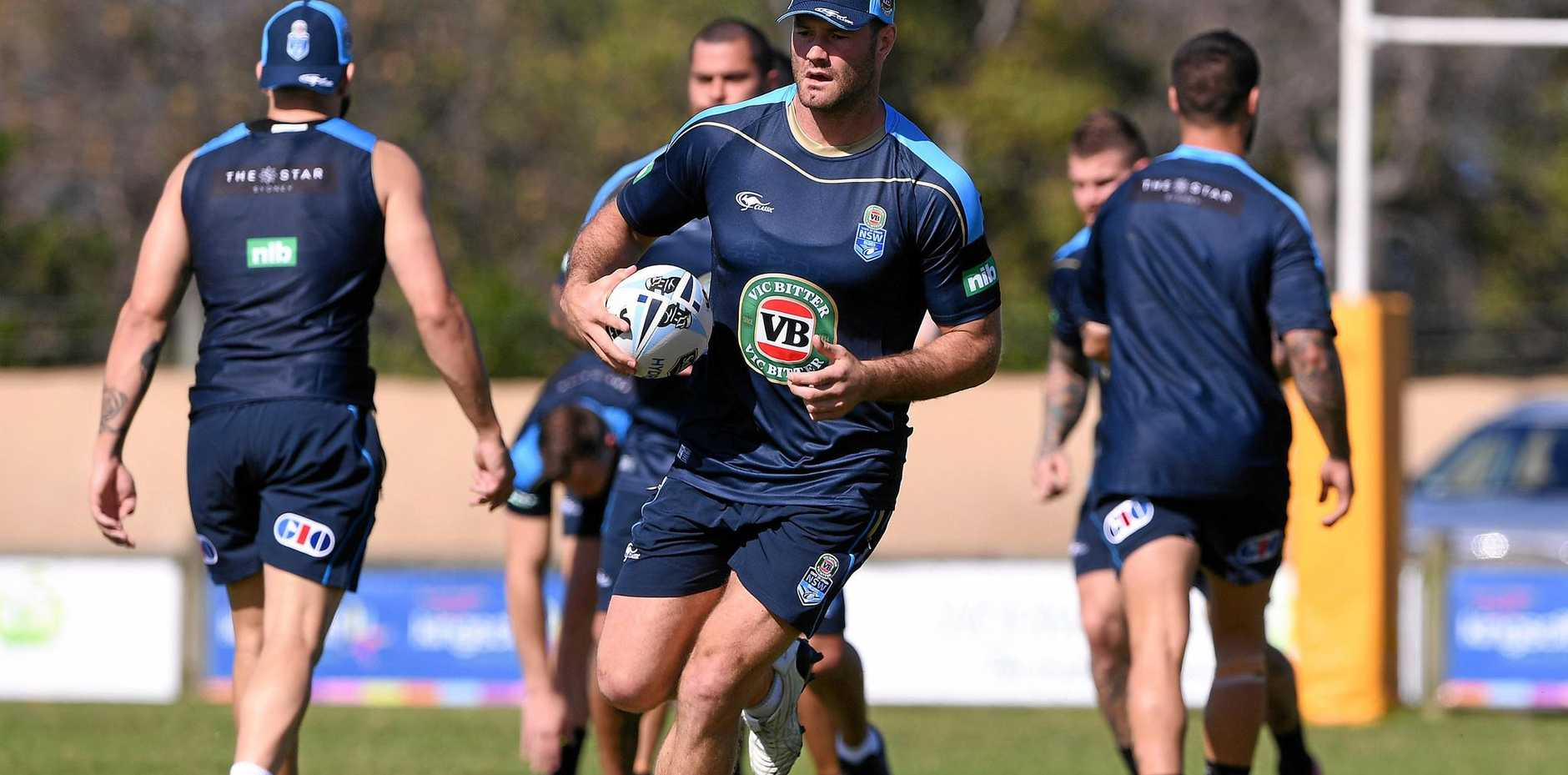 Skipper Boyd Cordner during a Blues training session.
