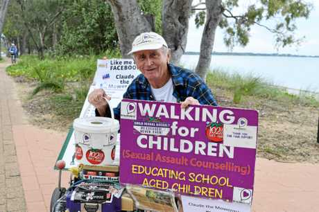 SO CLOSE: 'Mower man' Claude Harvey is back in Hervey Bay, only $66,000 off his fundraising target of $1 million. He will be fundraising along the Esplanade and in town today and tomorrow.