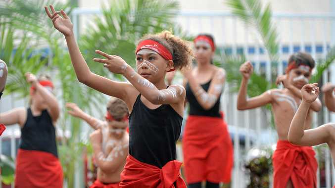 Shania Craig from the Mackay Aboriginal Dance Group dancing at the National Reconciliation Week morning tea.