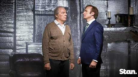 Michael McKean and Bob Odenkirk in a scene from season three of the TV series Better Call Saul. Supplied by Stan.