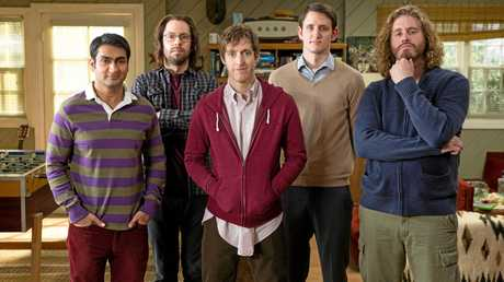 Kumail Nanjiani, Martin Starr, Thomas Middleditch, Zach Woods and TJ Miller in a scene from the TV series Silicon Valley.