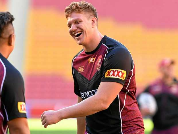 Dylan Napa during a Queensland State of Origin team training session in Brisbane.